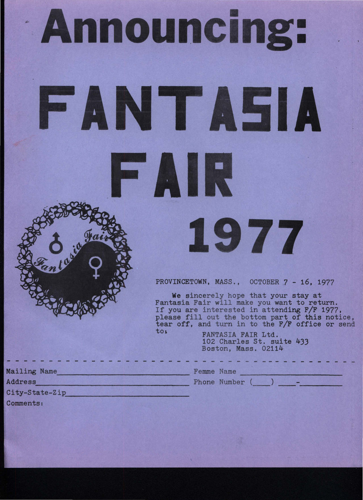 Download the full-sized PDF of Announcing: Fantasia Fair (Oct. 7 - 16, 1977)
