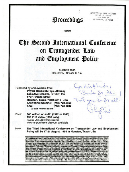 Download the full-sized image of Proceedings from the International Conference on Transgender Law and Employment Policy (August, 1993)