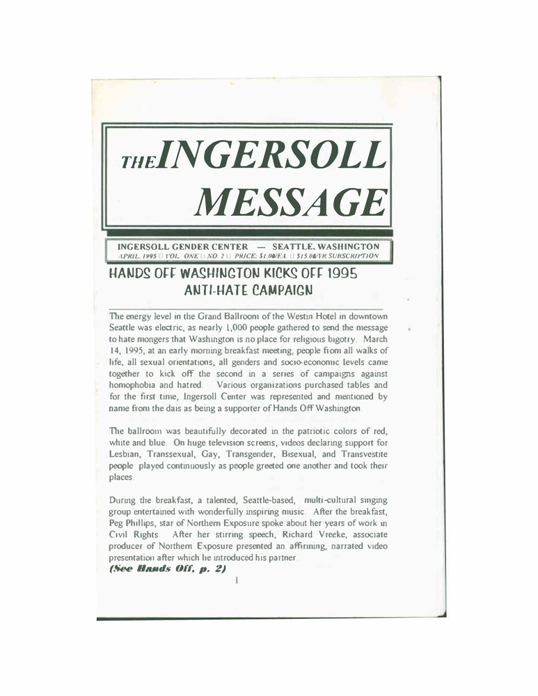 Download the full-sized PDF of The Ingersoll Message, Vol. 1 No 2 (April, 1995)