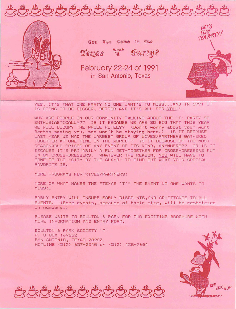 "Download the full-sized PDF of Can You Come to Our Texas ""T"" Party? (Feb. 22-24, 1991)"