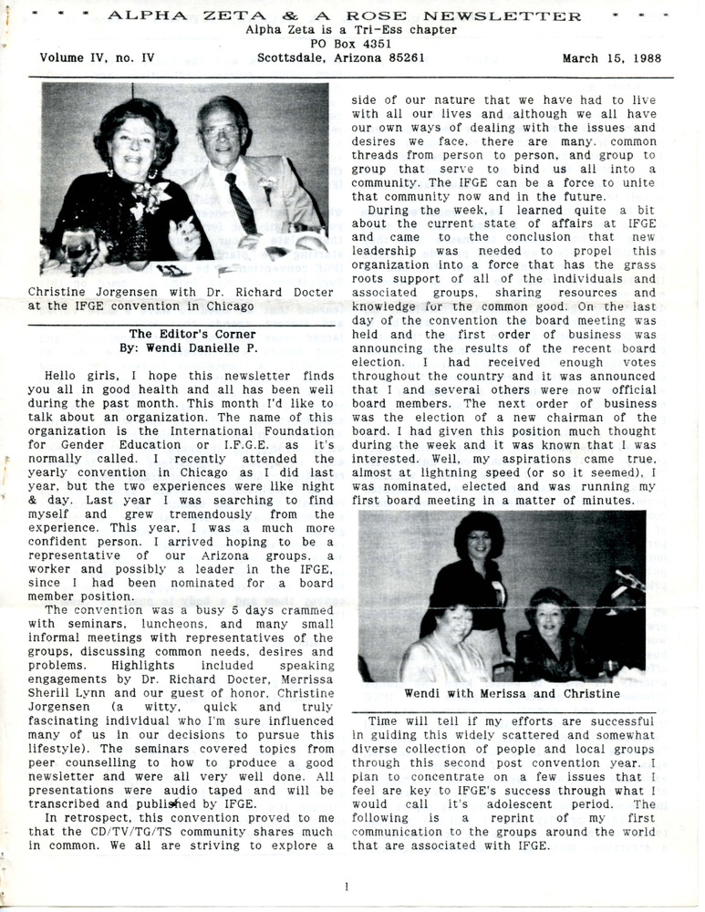 Download the full-sized PDF of Alpha Zeta & A Rose Newsletter Vol. 4 No. 4 (March 15, 1988)