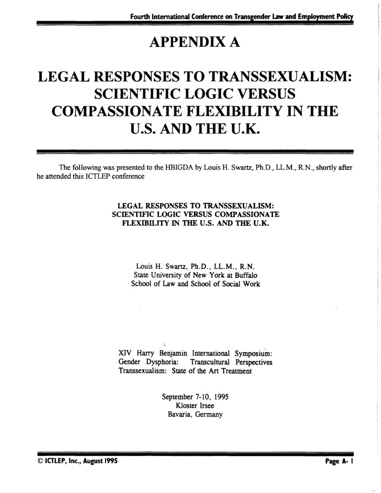 Download the full-sized PDF of Appendix A: Legal Responses to Transsexualism: Scientific Logic Versus Compassionate Flexibility in the U.S. and the U.K.