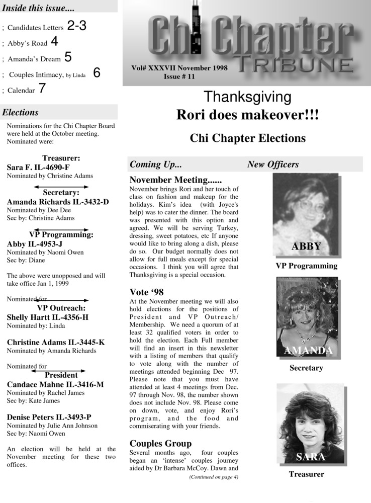 Download the full-sized PDF of Chi Chapter Tribune Vol. 37 Iss. 11 (November, 1998)