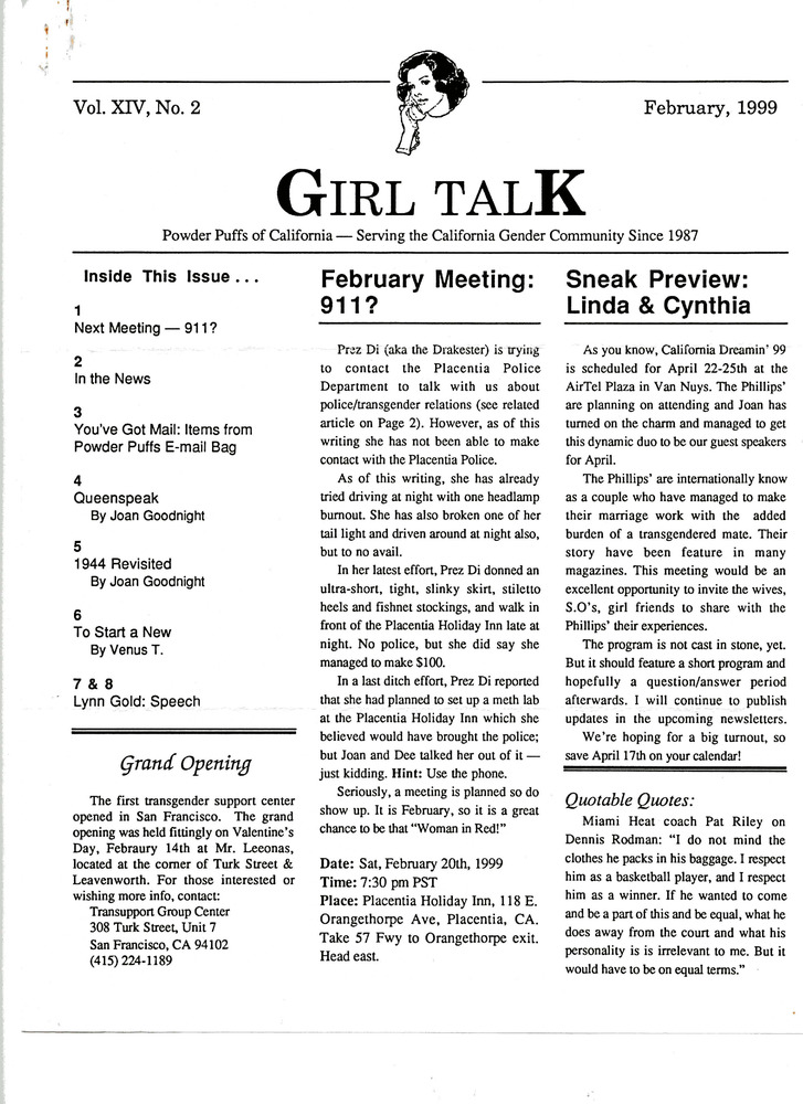 Download the full-sized PDF of Girl Talk, Vol. 14 No. 2 ( February, 1999)