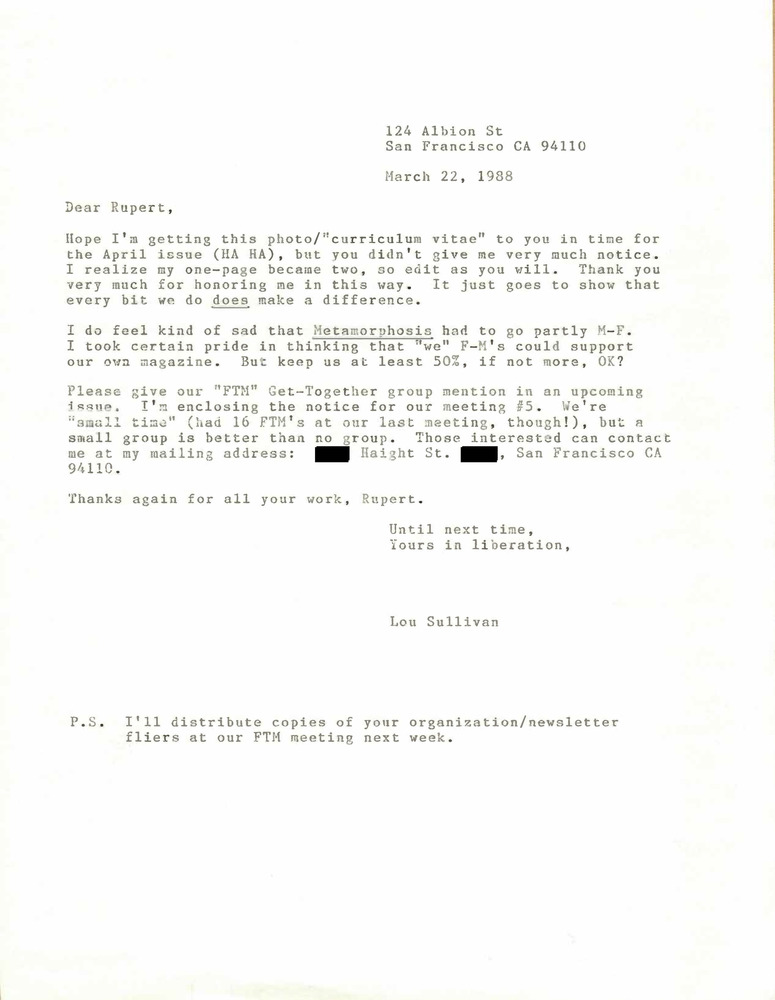 Download the full-sized PDF of Correspondence from Lou Sullivan to Rupert Raj (March 22, 1988)