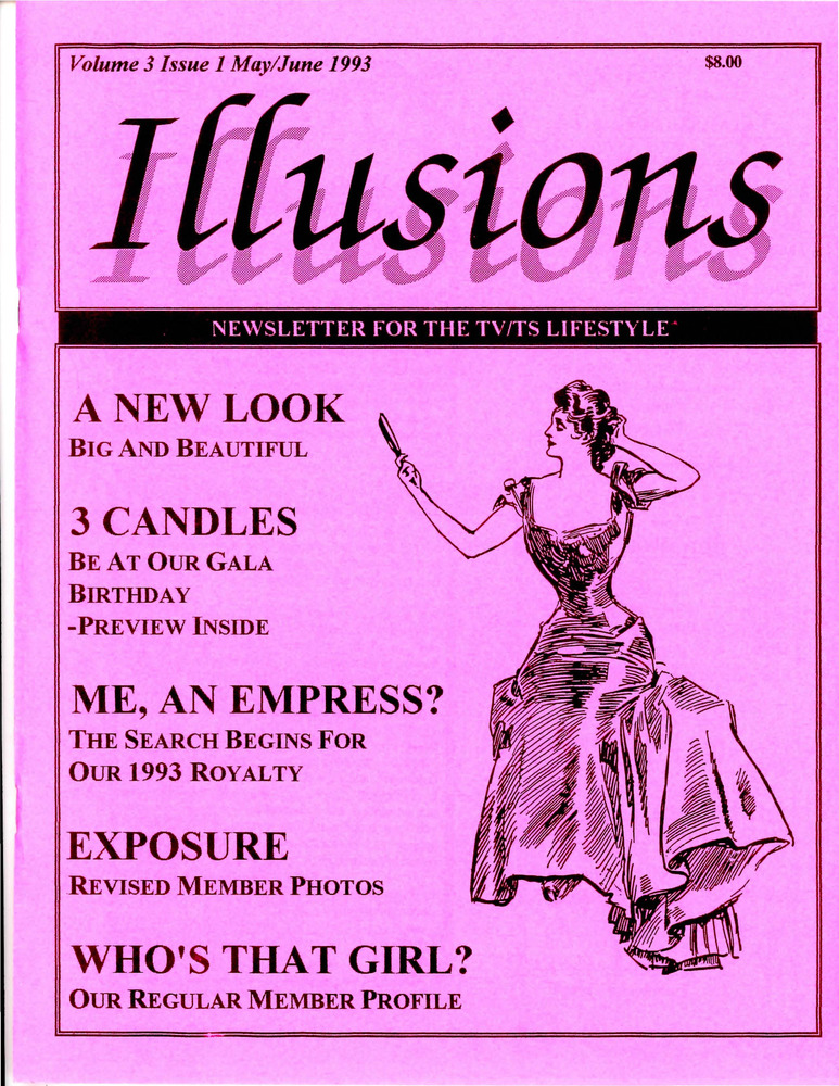 Download the full-sized PDF of Illusions: Newsletter for the TV/TS Lifestyle Vol. 3 No. 1 (May/June 1993)