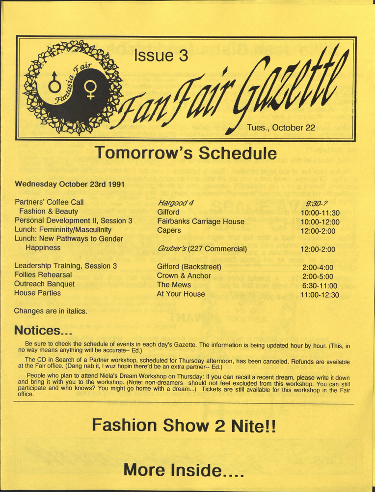 Download the full-sized PDF of Fan Fair Gazette, Issue 3 (October 22, 1991)